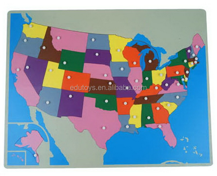 Promotional Wooden Toys Map Puzzles Assembling New Usa Puzzle