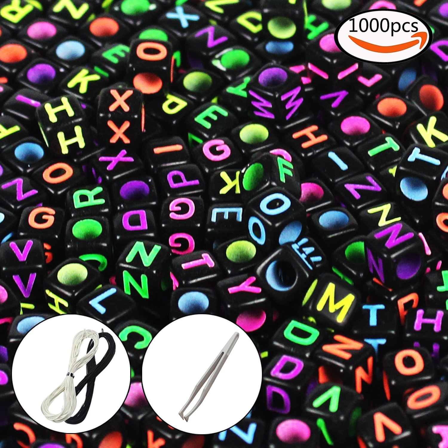 """JPSOR 1000 Pcs Letter Beads with 1 Pair of Tweezers 1 White and 1 Black Cord Black Alphabet Beads Mixed Color Alphabet """"A-z"""" Cube Beads for Jewelry Making for Kids DIY Bracelets, Necklaces"""