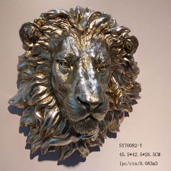 Gümüş Boyama Duvar Asılı Dekorasyon Satılık Aslan Kafası Heykel