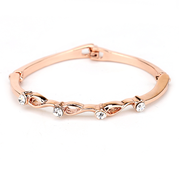 Chain Fashion design Luxury Silver Platinum Gold Plated Round CZ Cut Ladies Gorgeous Hand Made Bracelet Women C014