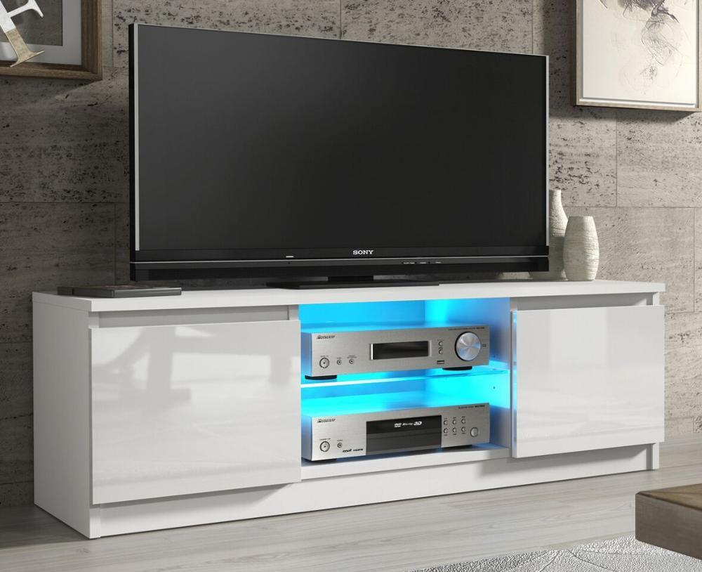 W Tv 1200 Gl Shelf White High Gloss Led Cabinet Unit Stand