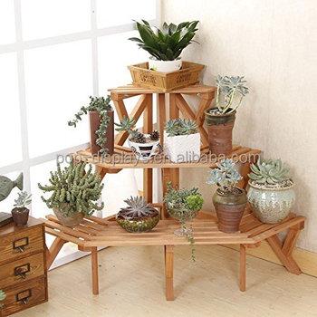 3 tier fir wood corner standing home garden flower pot - Meuble pour plantes d interieur ...