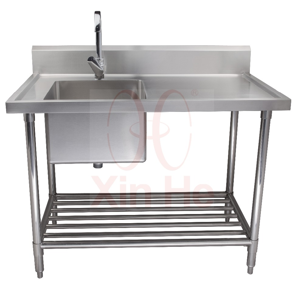 Freestanding 304 Stainless Steel Commercial Sink With Drainboard Kitchen Product On