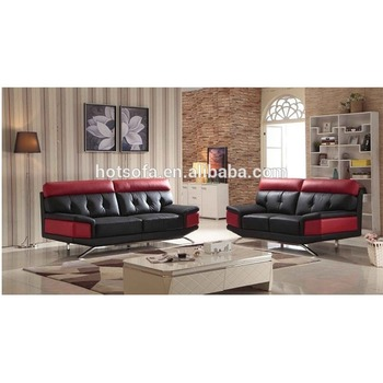 New Modern 3 2 1 Black And Red Leather Sofa Design For Living Room Furniture