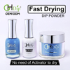 Blue Color Fast Drying Dip Powder 3in1 set Perfect color match gel polish and nail lacquer