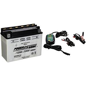 Power-Sonic C50-N18L-A3 Conventional Powersport Battery and Battery Tender 022-0150-DL-WH 800 Battery Charger Bundle