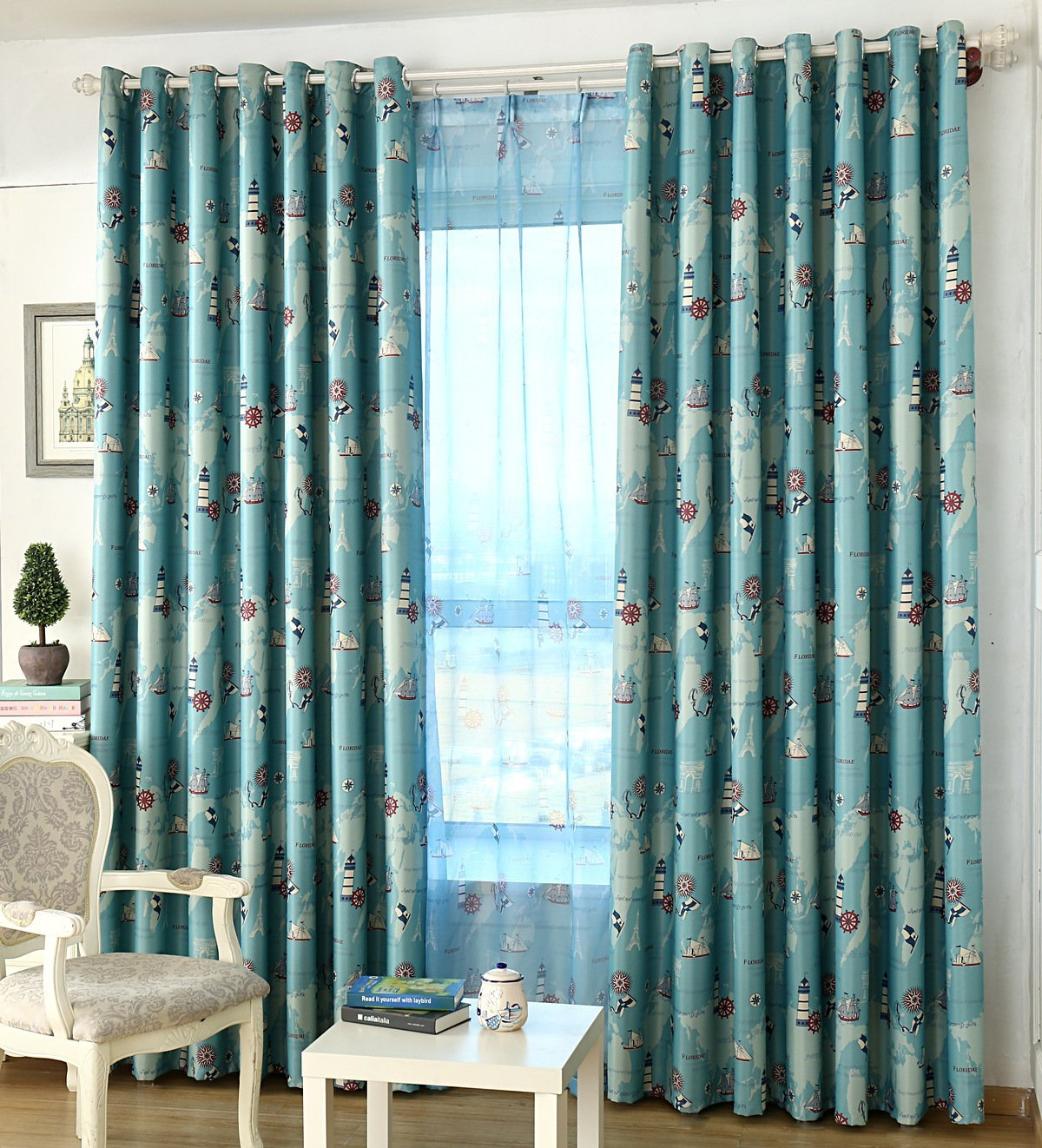 ZWB Room Darkening Window Treatment Kids Children Room Grommet Top Blackout Curtains Thermal Insulated Nautical Vessel Rudder Panel for Children Boys Bedroom Living Room 1 Panel W39 x L63 Inch