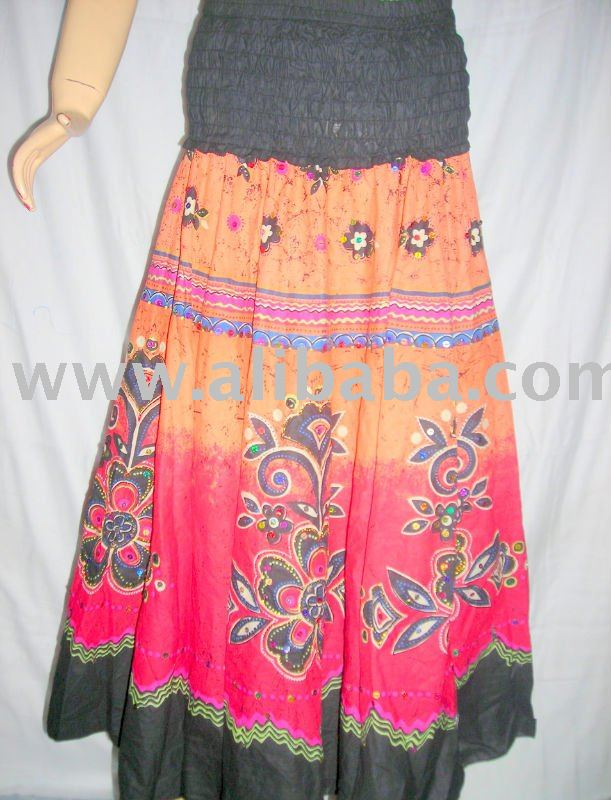 SNS Long Maxi Full Length Skirt Rayon Stone Wash with Embroidery