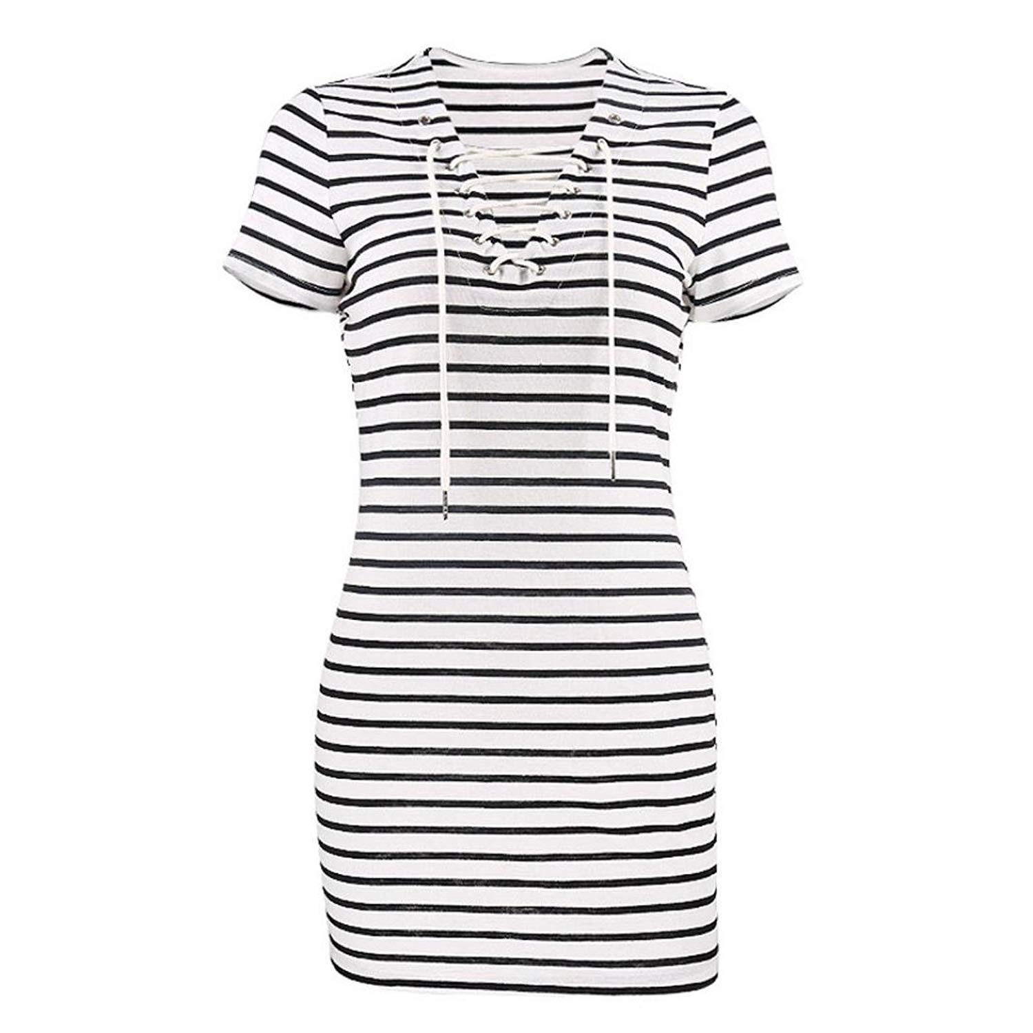 801120bbc29 Get Quotations · Yuxing Women Teen Girls Striped V Neck Lace up Short  Sleeve Casual Mini Dresses