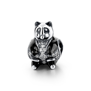 New mold 925 oxidized sterling silver beads Panda charm pendant
