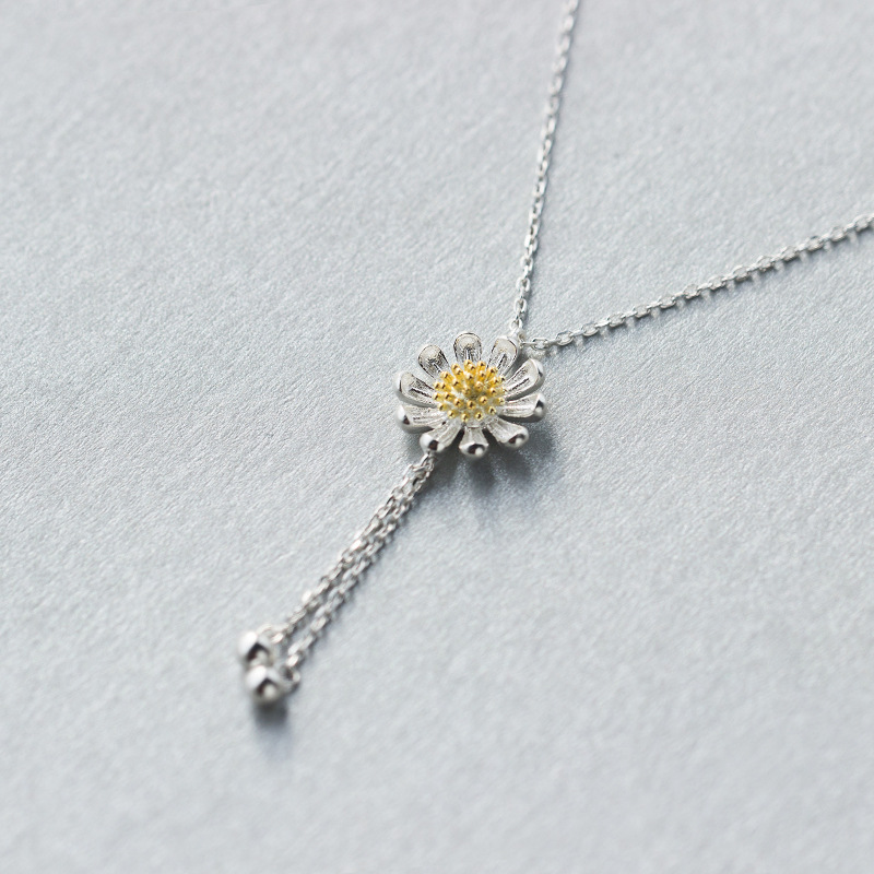 Latest fashion necklace 925 sterling sliver statement Little Daisy pendant jewellery for lady