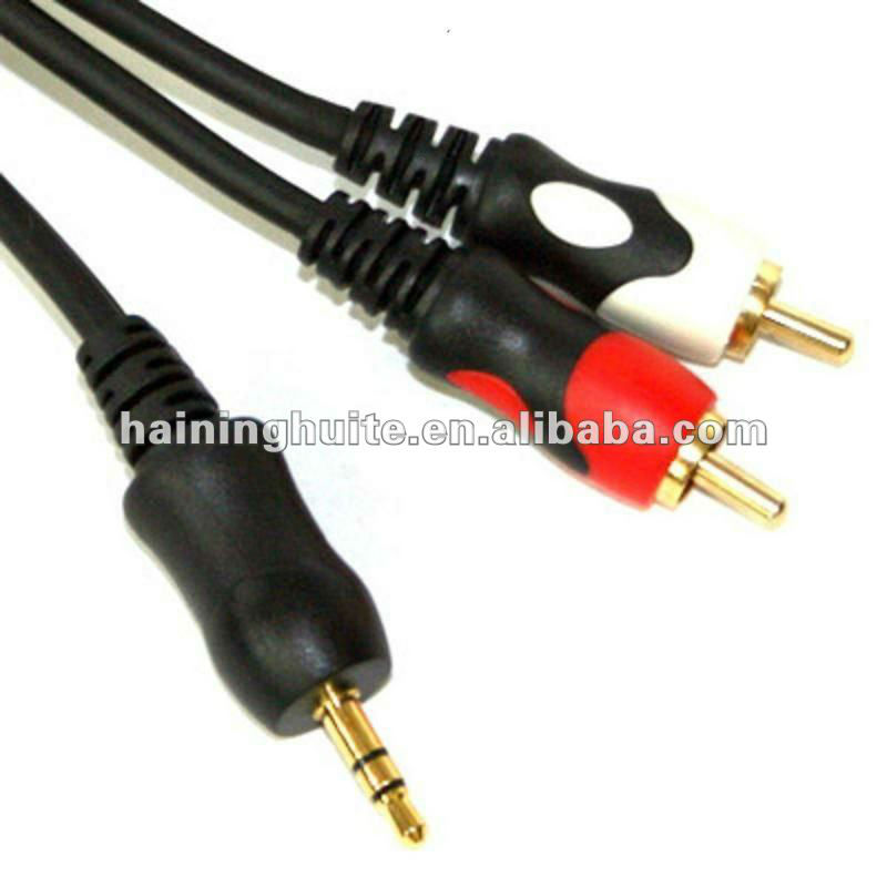 gold connector AUX to RCA cable,2 RCA to aux Cable
