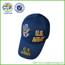 High quality embroidery 6 panel usa army baseball cap