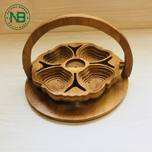 Creative design 100% natural bamboo wooden fruit nuts basket