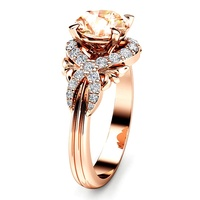 Exquisite Champagne Full Artificial Diamond Ladies Ring Rose Gold Plated Wedding Jewelry B2172