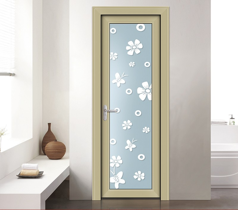 Single Frosted Glass Inserted Aluminium Frame Door Price