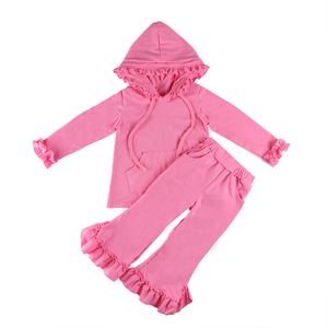 Children Clothes Solid Color Cotton Set Girls Wear Shirt and Pant Sets Baby Garment Wholesale