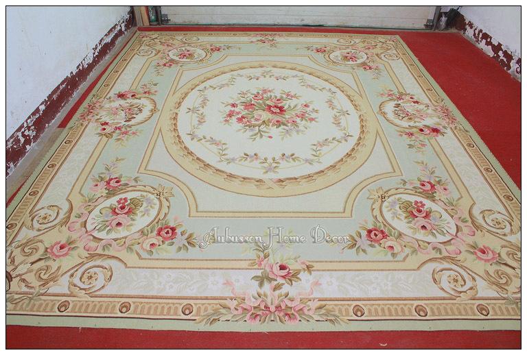 10x14 pastel light green ivory aubusson area rug carpet. Black Bedroom Furniture Sets. Home Design Ideas