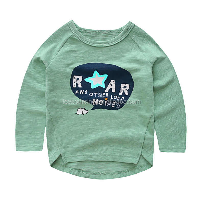 Wholesale baby long sleeve printing t shirt cotton kids t shirt for spring
