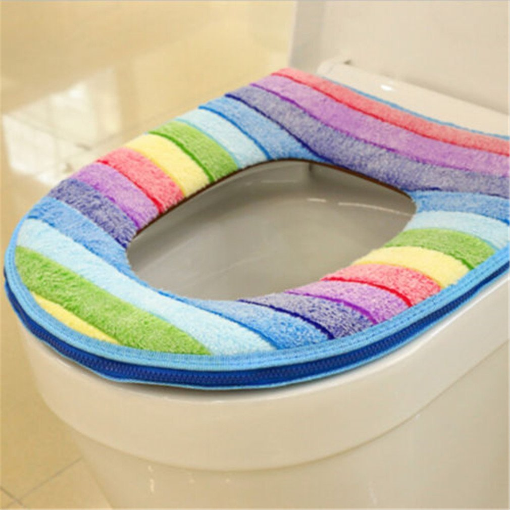 FEWER Comfortable Toilet Seat Soft Cloth Washable Lid Top Cover Pad Bathroom Warmer Winter Toilet Seat Cover Sky Blue