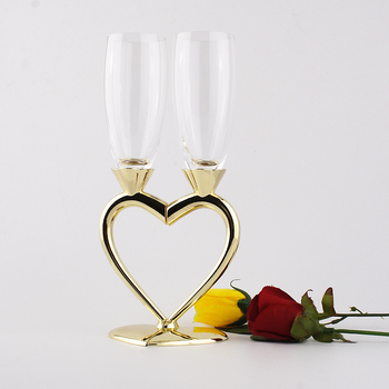 heart shape crystal champagne flutes wedding toasting drinking wine glasses