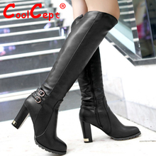 Free shipping knee boots women fashion snow winter footwear high heel shoes sexy warm half boot P6870  EUR size 34-43