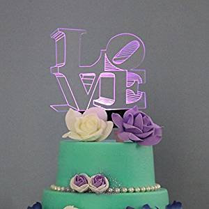 Shinybeauty Led Cake Topper Lover Wedding Decoration With