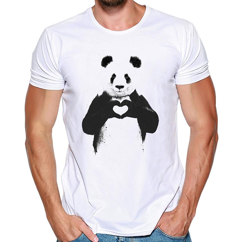 Challyhope Mens T-Shirt, Fashion Cute Panda Print Casual Tees Slim Short Sleeve Sweatshirt Tops
