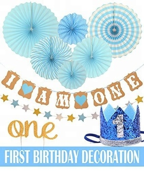 First Birthday Decoration Set1st Boy Party Blue Hat Crown One Cake Topper