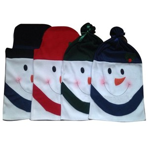 Cute 4 pcs Snowman chair cover for Xmas season kitchen decoration new for 2015
