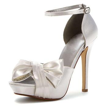 Women Ivory Satin Flower Low Heel Bridal Wedding Shoes