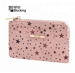 Rfid Blocking Slim Coin Purse Small PU Leather Card Holder Zip Wallet