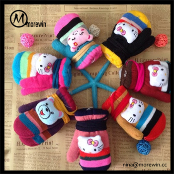 Morewin Gloves Custom Cartoon Head Acrylic Knitted Baby Gloves With