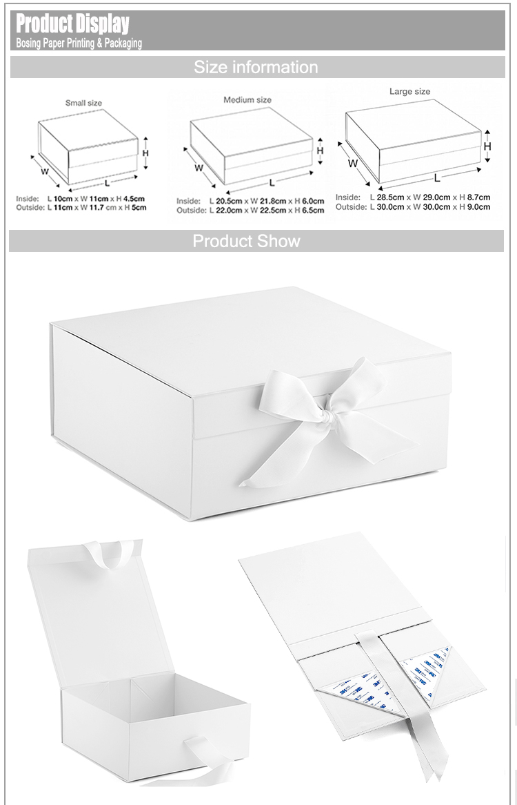 Wholesale Luxury Matte White Paper Gift Packaging Custom Printed Ribbon Closure Paper Box Gift Packaging