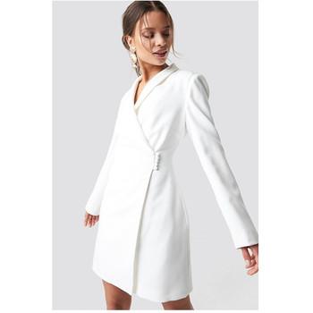 e8d6e2c29614 2019 Nueva Llegada Chaqueta Blazer Blanco Superposición Diseñado Con Cuello  En V Midi Ropa Mujer Vestidos Mujeres Dama Elegante Oficina - Buy Vestido  ...