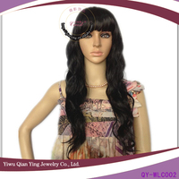 Black nature looking curly asian women hair wig