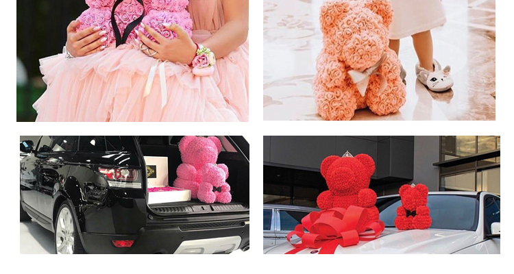 Handmade Craft Decorative PE Foam Graduation Gift With Gift box 40cm Teddy Roses Bear