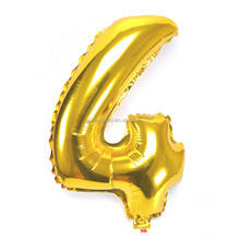 Wholesale 16inch Small Size Gloosy Gold Number Shaped Helium Balloon/Number Foil Ballon