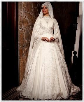 Excellent High Quality Dubai Elegant Gelinlik Lace Long Sleeve Beading  Bridal Hijab Muslim Wedding Dress Wedding Gowns(musl14) , Buy Muslim  Wedding