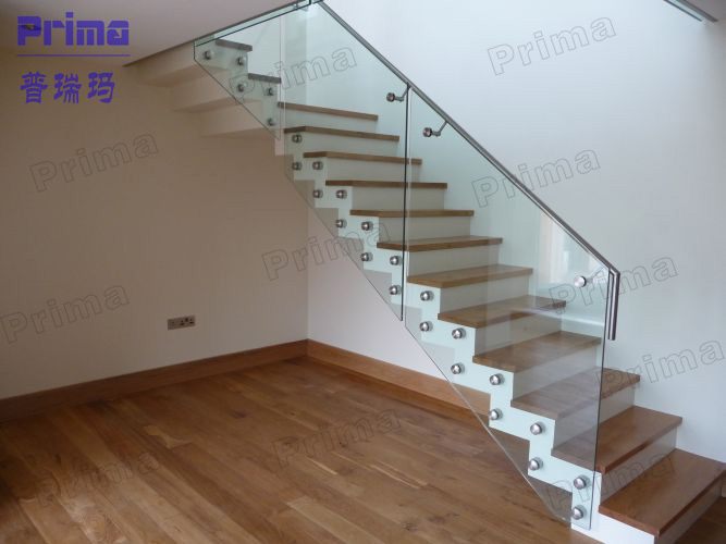 Wooden Staircase /timber Tread Glass Railing Stairs /teak Wood Staircase