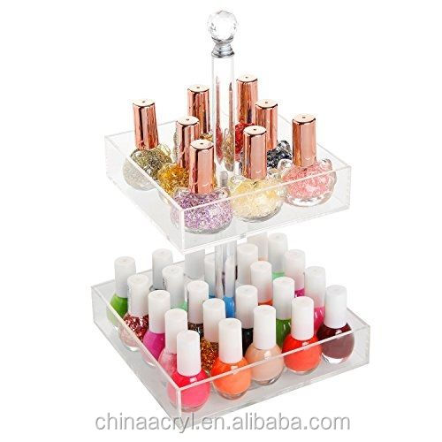 Rotating Clear Acrylic 2 Tier Nail Polish Display Rack
