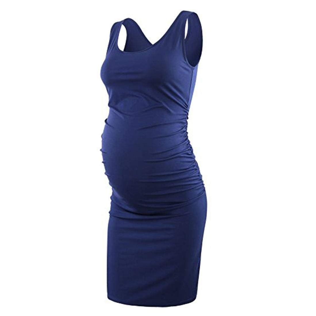 d3f8a5210a WuyiMC® Maternity Dress Sexy Women's Ruched Maternity Bodycon Dress Mama  Causual Sleeveless Wrap Dresses