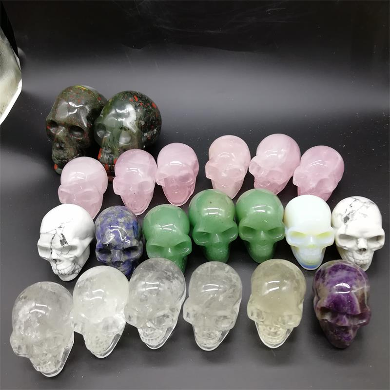 2'' Polished Natural Gemstone Healing Small Crystal Skull Reiki Carving Stone for Souvenir Gift