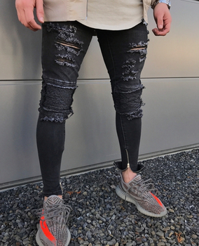 4834462ecf 2019 nueva llegada flaco personalizado agobiados jeans de moda de los  hombres al por mayor venta