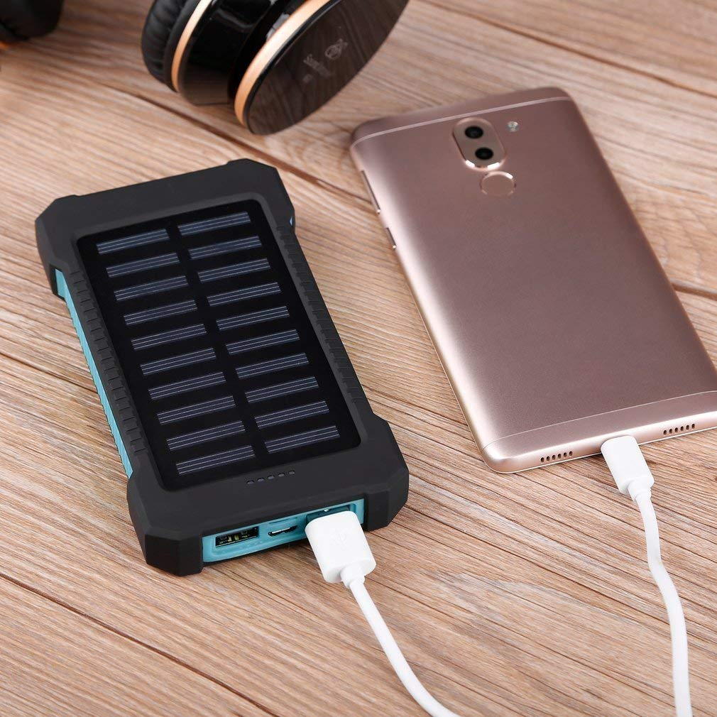 blue Search Terms: Waterproof, 300000mAh Power Bank, Solar Charger, Dual USB Waterproof 300000mAh Portable Solar Charger Dual USB Battery Power Bank