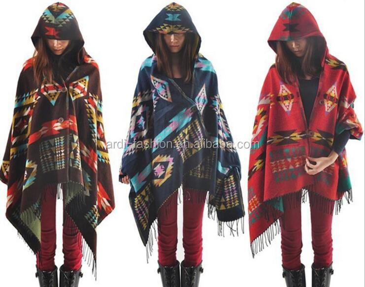 women aztec texture knitting pattern hooded ponchos with tassels fringe