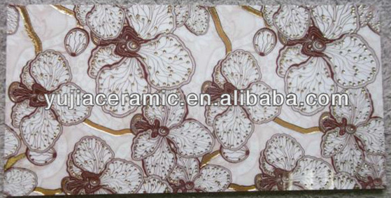 New product pink flower pattern pink ceramic bathroom wall tile