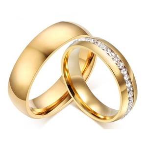 Gold-color Wedding Bands Ring for Women Men Jewelry 6mm Stainless Steel Engagement Ring US Size 5 to 13