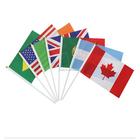 Wholesale Ready To Ship 100% polyester 14X21cm all country hand held waving small national flags with plastic pole