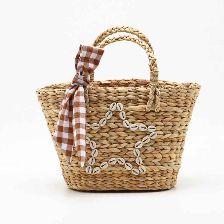 RKY0730 New summer style shell star gourd grass woven bag woven pp beach bag straw rattan tote bag-1